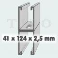 C-sín (szerelősín) MFO 41 / 124 x 2,5 mm dupla 6 m/szál