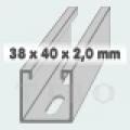 C-sín (szerelősín) MFO 38 / 40 x 2,0 mm  2 m/szál