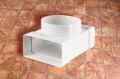Műanyag lapos légcsatorna T-idom 90° •  55 x 110 / NA 100 mm-es légcsatornákhoz