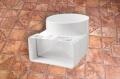 Műanyag lapos légcsatorna könyök átalakító (idomcsatlakozó) 60 x 204 mm / NA 125 mm
